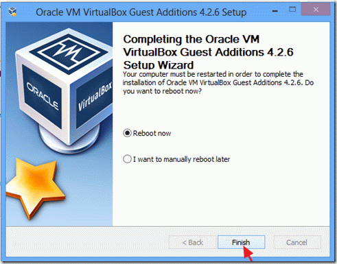 virtualbox guest additions install finish