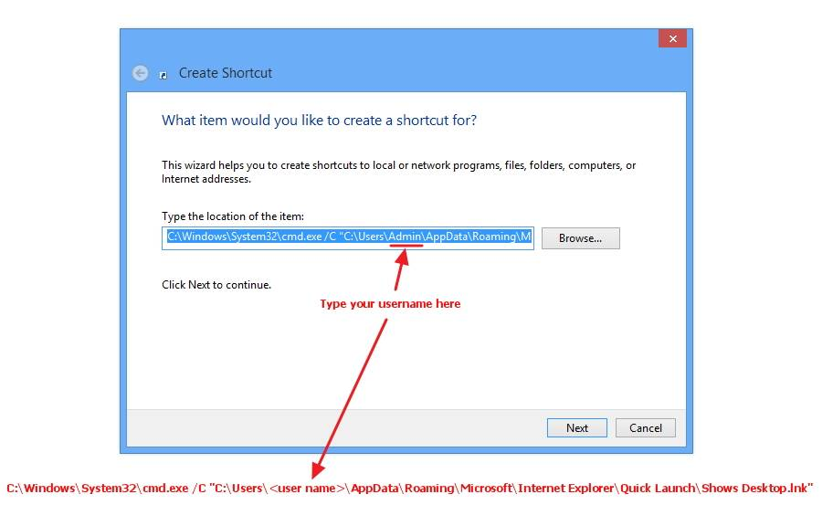 """Tip: How to place the """"Show Desktop"""" icon in Windows 8 taskbar."""
