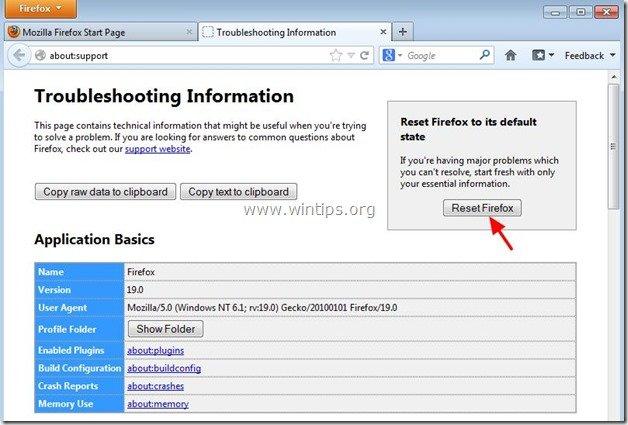 reset Firefox - wintips.org