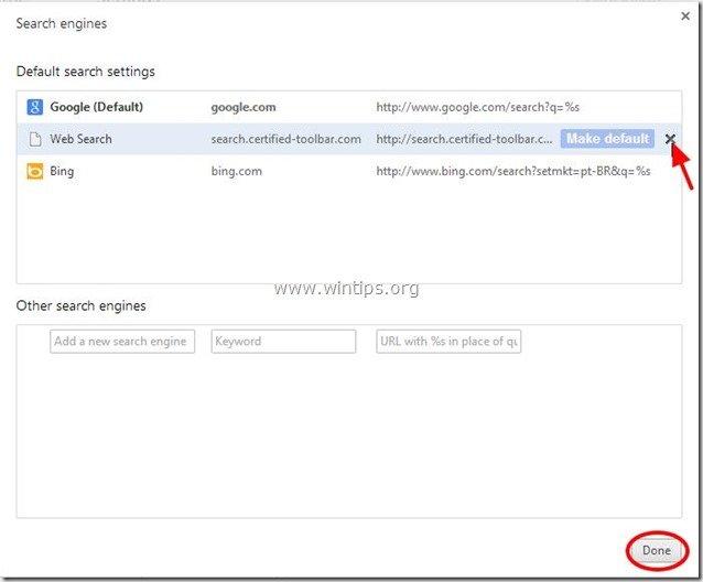 remove search engine - chrome