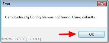 camstudio config file error