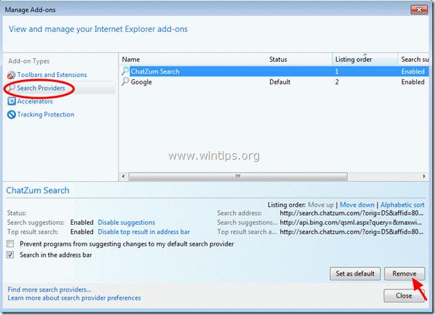 remove ChatZum Search engine - internet explorer