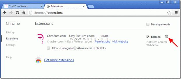 remove ChatZum toolbar - chrome