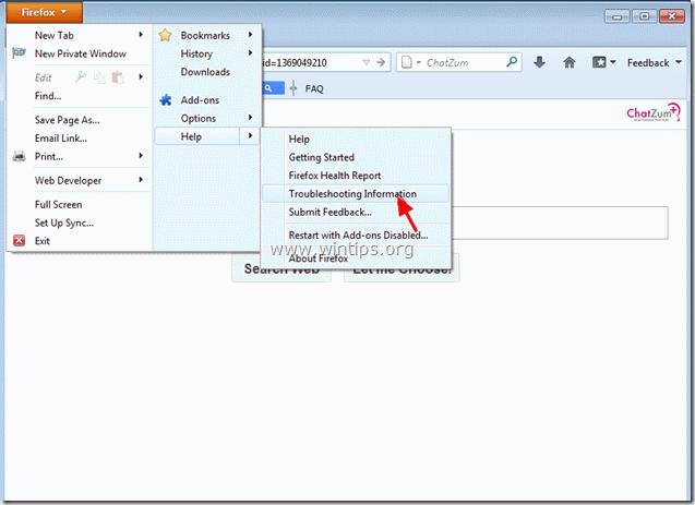 remove ChatZum Search &  toolbar - firefox