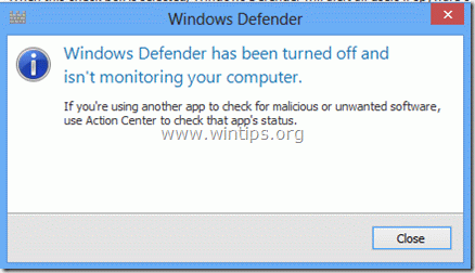windows defender is turned off - windows 8
