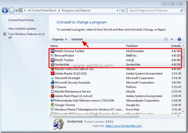 Uninstall Mixidj toolbar from Control Panel