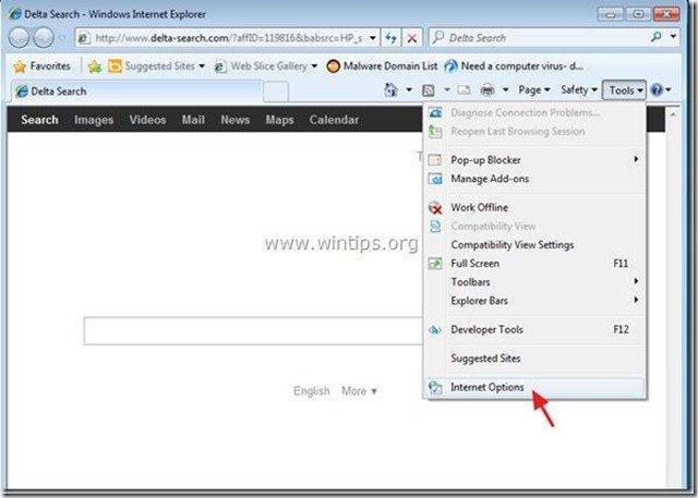 internet explorer tools options