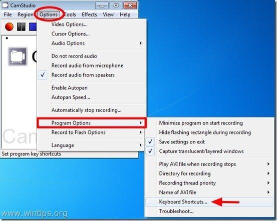 camstudio keyboard shortcuts
