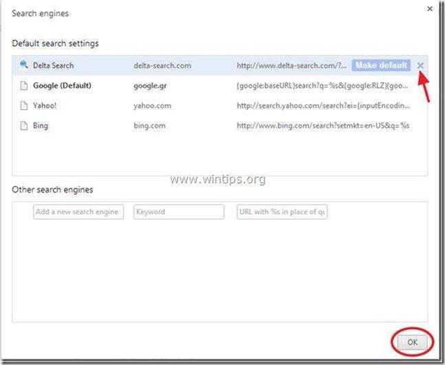 remove delta search engine chrome
