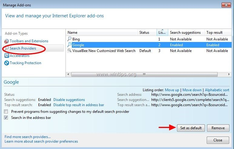 how to set default search engine