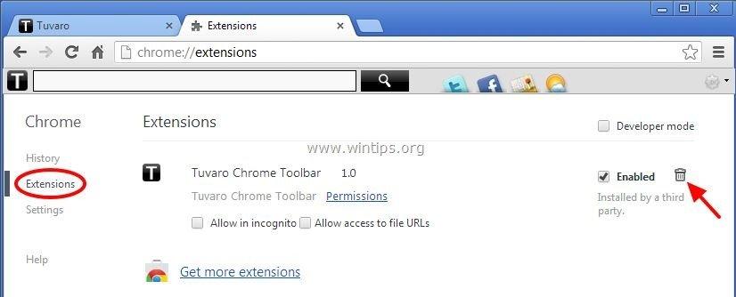 remove-tuvaro-toolbar-chrome