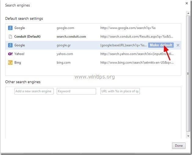 remove internet helper search settings
