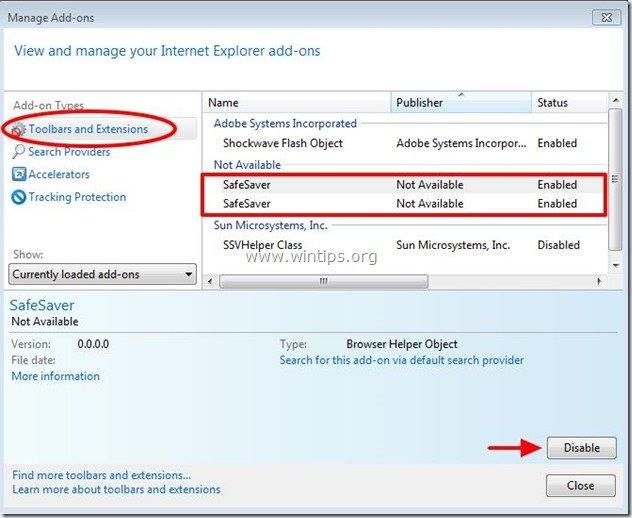 remove-safesaver-internet-explorer