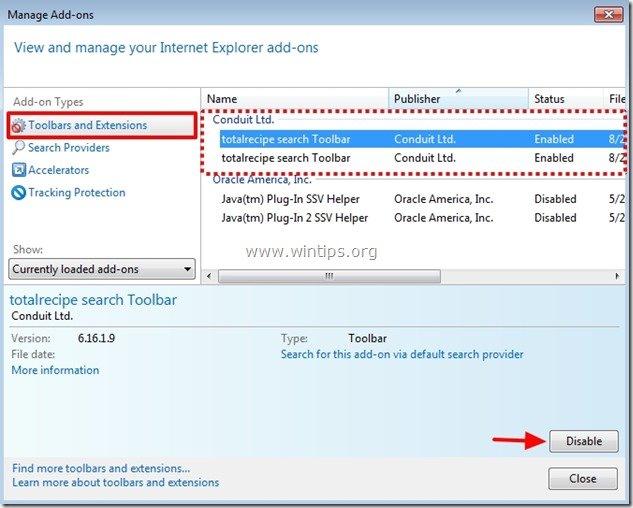 remove totalrecipe search toolbar