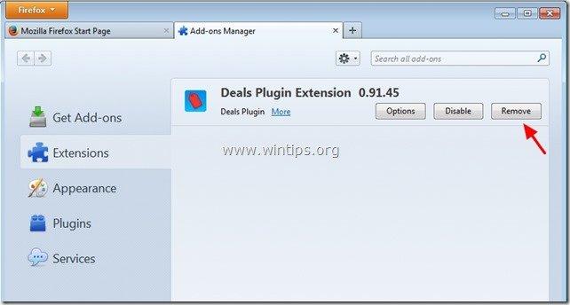 remove deals plugin extension firefox