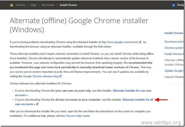 google chrome alternate installer