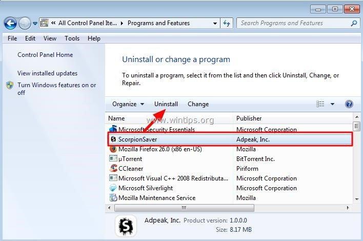 windows xp application removal tool