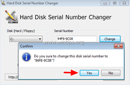 change hard disk serial number