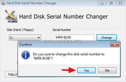 change hard disk serial number