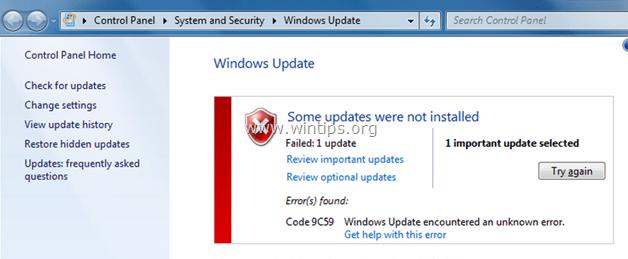 error code 9c59 internet explorer installation failed