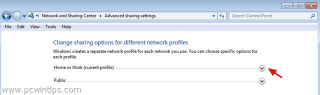 Change Network Profile Settings
