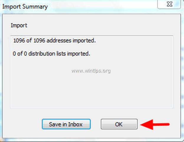 import Address book summary