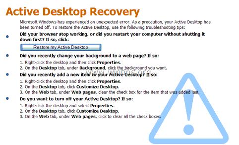 fix Active Desktop Recovery