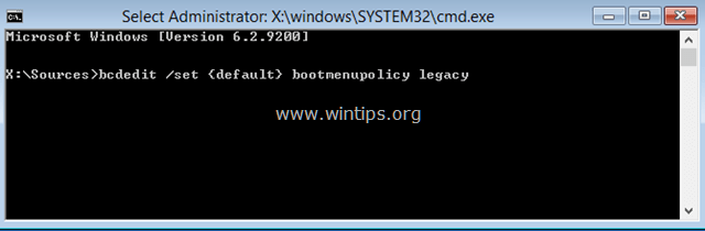 Windows 8 F8 legacy boot