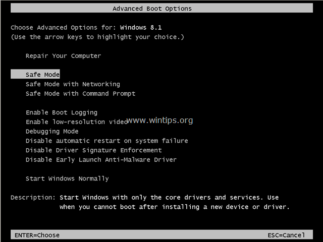 F8 Advanced Boot Options menu Safe Mode Windows 8