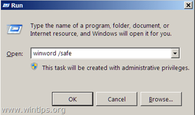 run word without plugins - safe mode