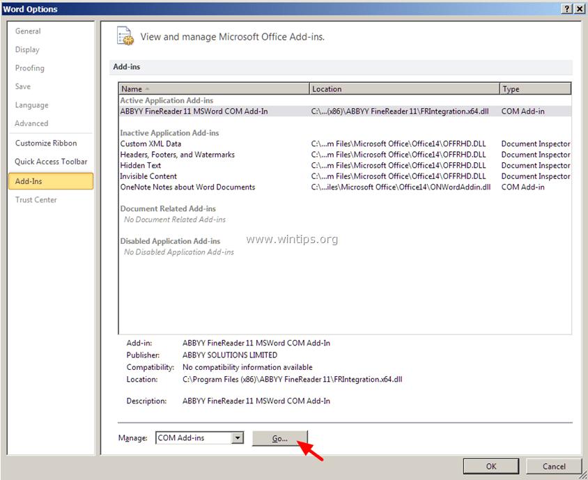 manage word com add-ins