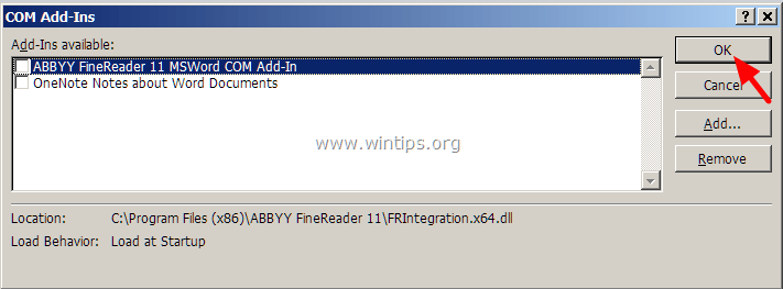 disable-enable add-ins word