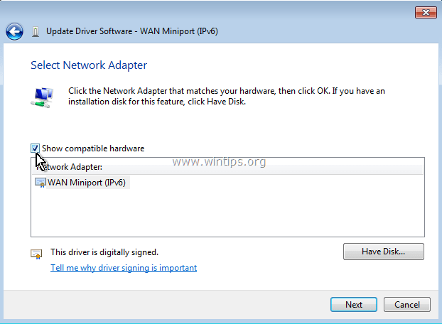 uninstall WAN Miniport4