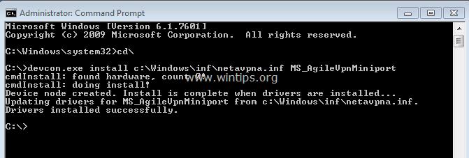 install WAN Miniport