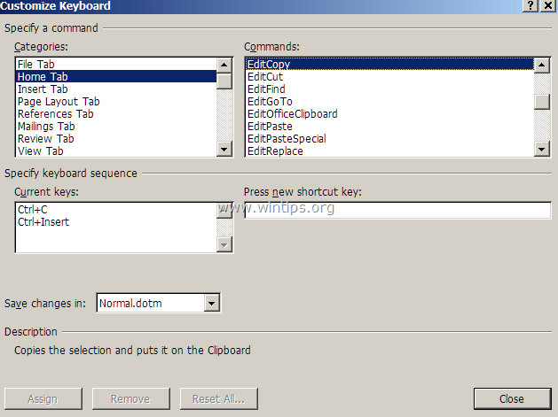 word shortcut keys coammnds