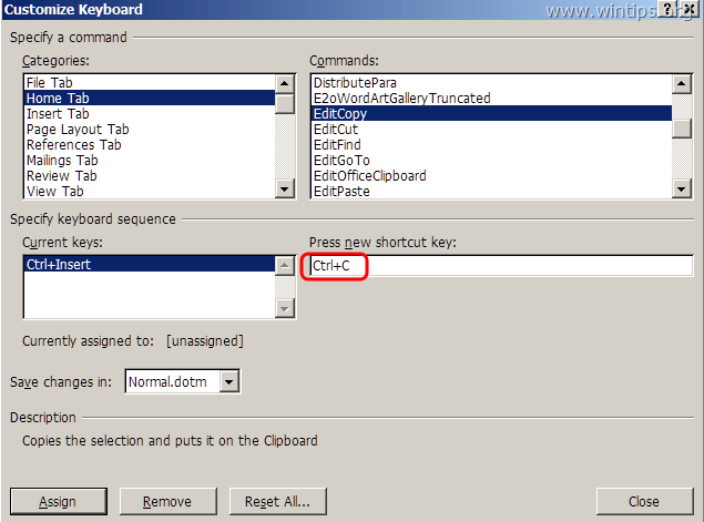 Ctrl+C shortcut key