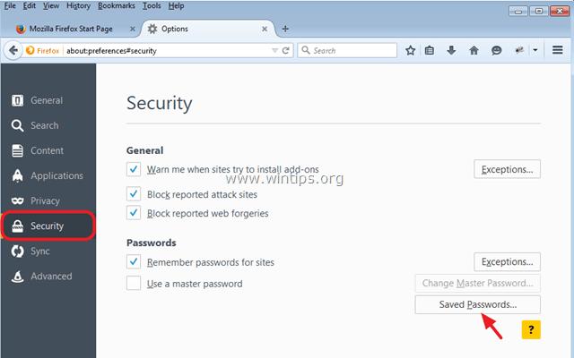 view stored passwords firefox