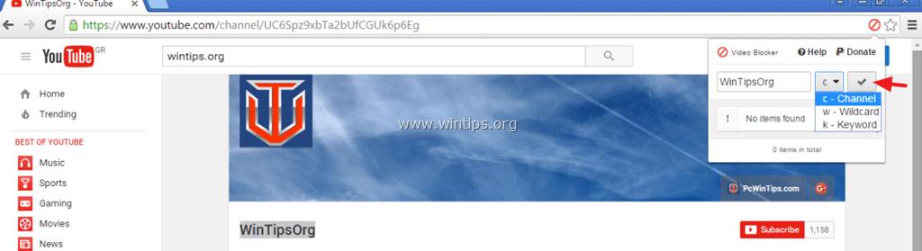 block youtube video channel