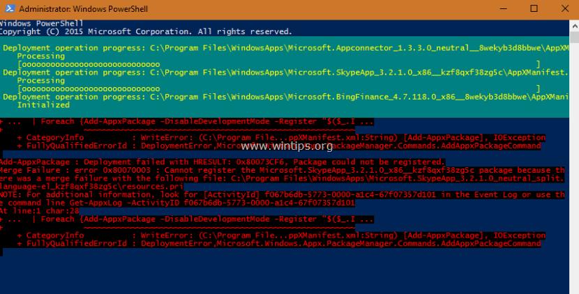Deployment failed: 0x80073CF6, Merge Failure: 0x80070003