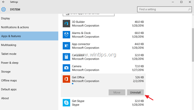 uninstall particular apps windows 10