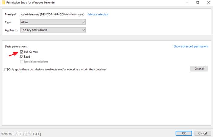 change permissions registry
