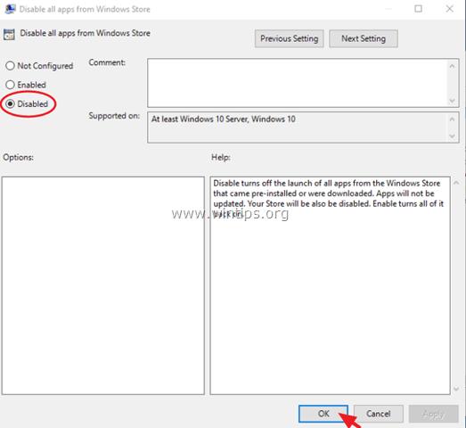 disable Windows Store Windows 10