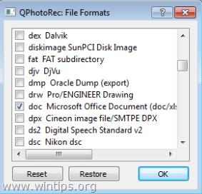 photorec fie types