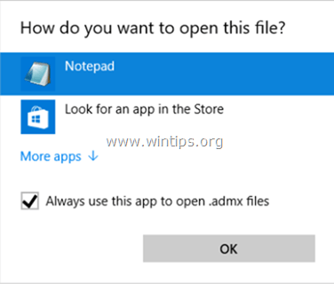 restore open with dialog