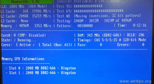 memtest86+ memory test