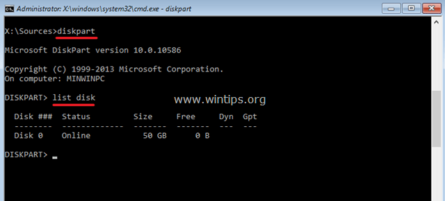 list disk command