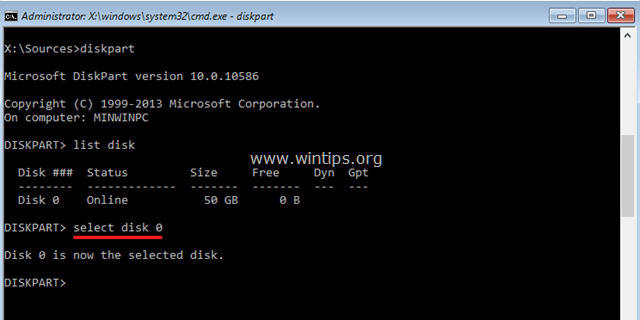 select disk command