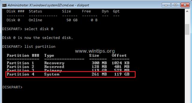 list partition command