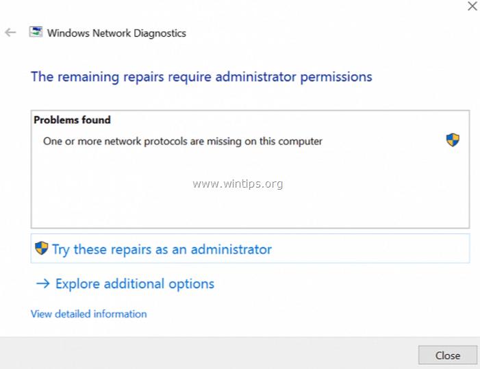 windows internet protocols missing