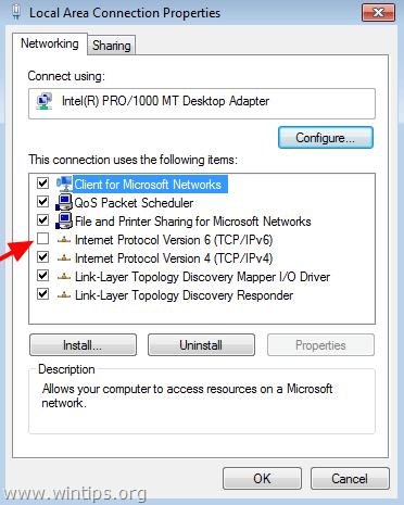 disable tcpip v6